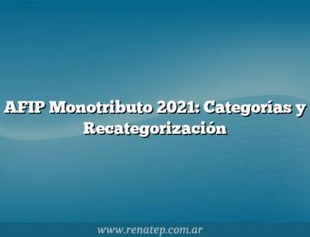 AFIP Monotributo 2021: Categorías y Recategorización