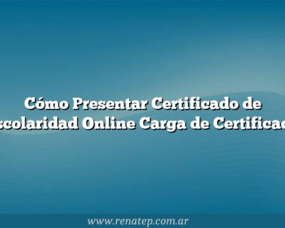 Cómo Presentar Certificado de Escolaridad Online  Carga de Certificado