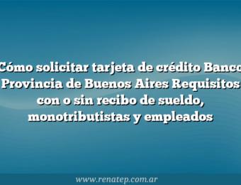 Cómo solicitar tarjeta de crédito Banco Provincia de Buenos Aires  Requisitos con o sin recibo de sueldo, monotributistas y empleados