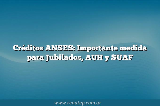 Créditos ANSES: Importante medida para Jubilados, AUH y SUAF
