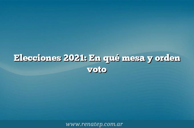 Elecciones 2021:  En qué mesa y orden voto