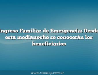Ingreso Familiar de Emergencia: Desde esta medianoche se conocerán los beneficiarios