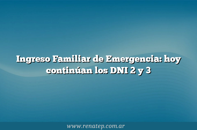 Ingreso Familiar de Emergencia: hoy continúan los DNI 2 y 3