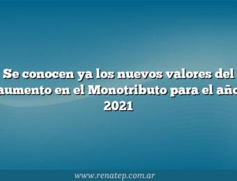 Se conocen ya los nuevos valores del aumento en el Monotributo para el año 2021