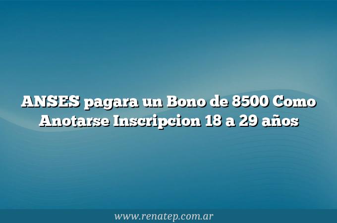 ANSES pagara un Bono de 8500 Como Anotarse  Inscripcion 18 a 29 años