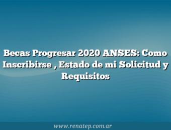 Becas Progresar 2020 ANSES:  Como Inscribirse , Estado de mi Solicitud y Requisitos