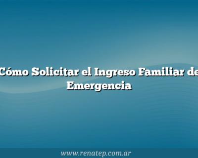 Cómo Solicitar el Ingreso Familiar de Emergencia