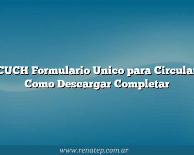 CUCH Formulario Unico para Circular  Como Descargar  Completar