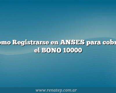 Como Registrarse en ANSES para cobrar el BONO 10000
