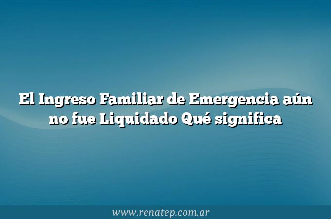 El Ingreso Familiar de Emergencia aún no fue Liquidado  Qué significa