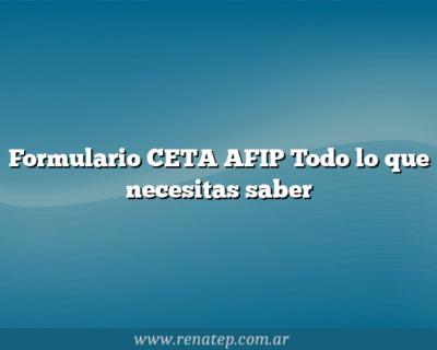 Formulario CETA AFIP Todo lo que necesitas saber