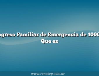 Ingreso Familiar de Emergencia de 10000  Que es