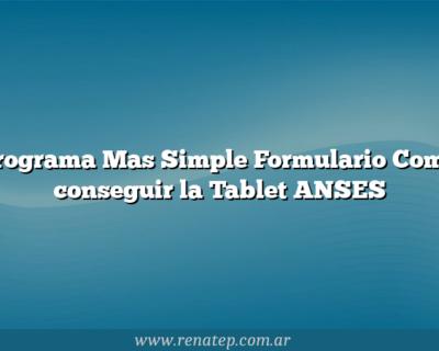 Programa Mas Simple Formulario  Como conseguir la Tablet ANSES