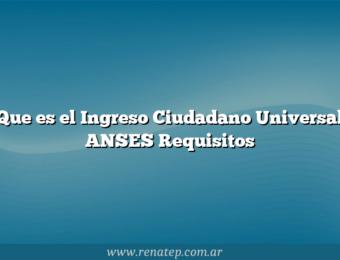 Que es el Ingreso Ciudadano Universal ANSES  Requisitos